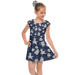 Doodle Bob Pattern Kids Cap Sleeve Dress