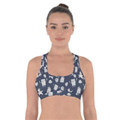 Doodle Bob Pattern Cross Back Sports Bra