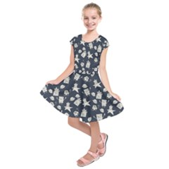 Doodle Bob Pattern Kids  Short Sleeve Dress