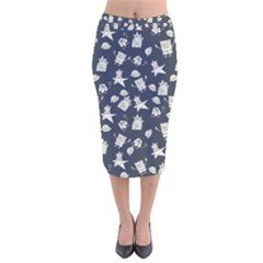 Doodle Bob Pattern Velvet Midi Pencil Skirt