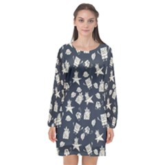 Doodle Bob Pattern Long Sleeve Chiffon Shift Dress