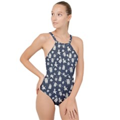 Doodle Bob Pattern High Neck One Piece Swimsuit