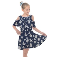 Doodle Bob Pattern Kids  Shoulder Cutout Chiffon Dress