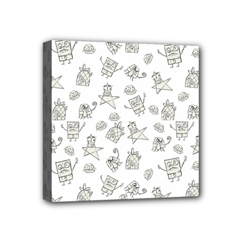 Doodle Bob Pattern Mini Canvas 4  X 4  (stretched)
