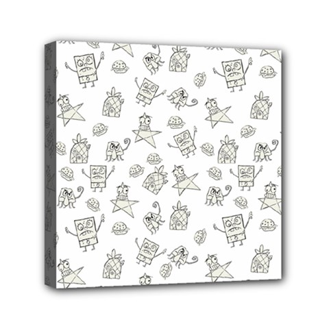 Doodle Bob Pattern Mini Canvas 6  X 6  (stretched)