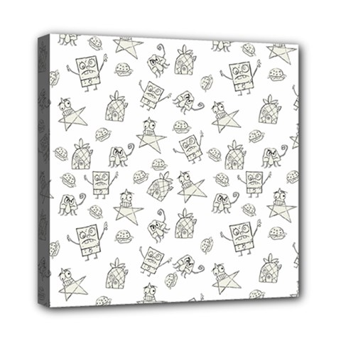 Doodle Bob Pattern Mini Canvas 8  X 8  (stretched)