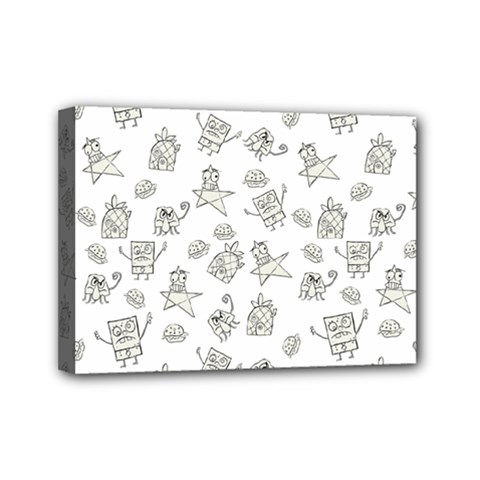 Doodle Bob Pattern Mini Canvas 7  X 5  (stretched)