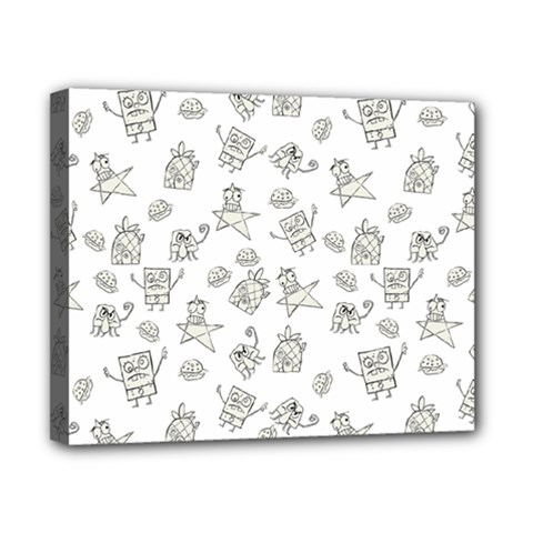 Doodle Bob Pattern Canvas 10  X 8  (stretched)