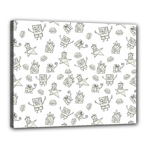 Doodle Bob Pattern Canvas 20  X 16  (stretched)