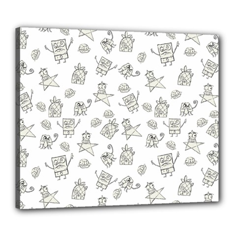 Doodle Bob Pattern Canvas 24  X 20  (stretched)