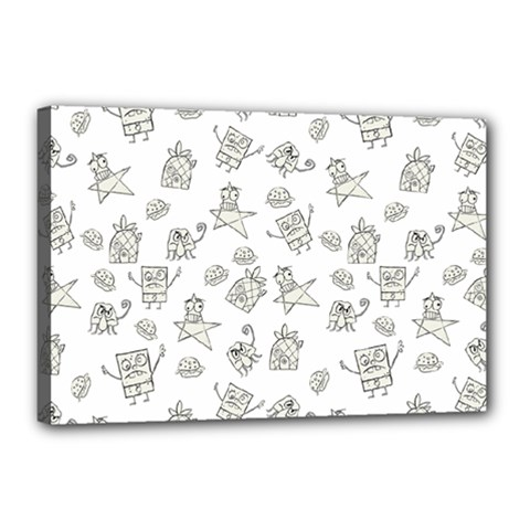 Doodle Bob Pattern Canvas 18  X 12  (stretched)