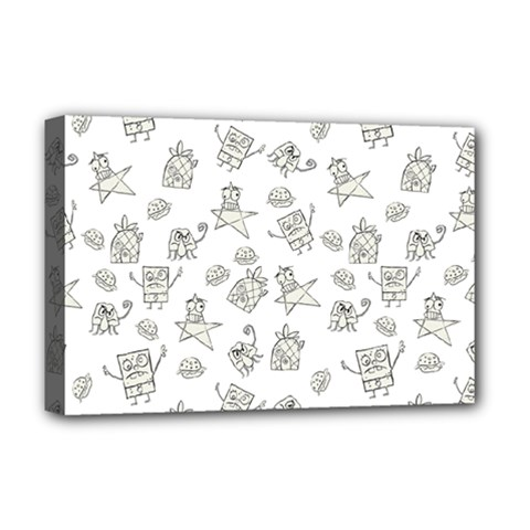 Doodle Bob Pattern Deluxe Canvas 18  X 12  (stretched)