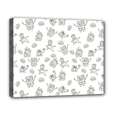 Doodle Bob Pattern Deluxe Canvas 20  X 16  (stretched)
