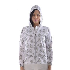 Doodle Bob Pattern Hooded Windbreaker (women)