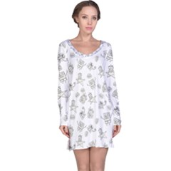 Doodle Bob Pattern Long Sleeve Nightdress