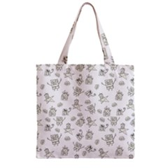 Doodle Bob Pattern Zipper Grocery Tote Bag