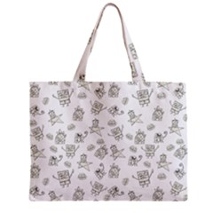 Doodle Bob Pattern Zipper Mini Tote Bag