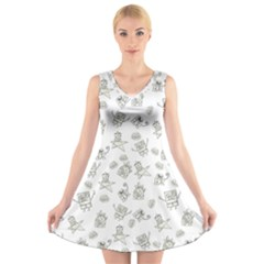Doodle Bob Pattern V Neck Sleeveless Dress