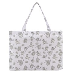 Doodle Bob Pattern Zipper Medium Tote Bag