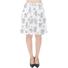 Doodle Bob Pattern Velvet High Waist Skirt
