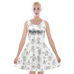 Doodle Bob Pattern Velvet Skater Dress