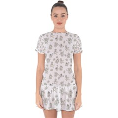 Doodle Bob Pattern Drop Hem Mini Chiffon Dress
