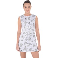 Doodle Bob Pattern Lace Up Front Bodycon Dress