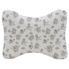 Doodle Bob Pattern Velour Seat Head Rest Cushion