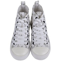 Doodle Bob Pattern Women s Mid Top Canvas Sneakers