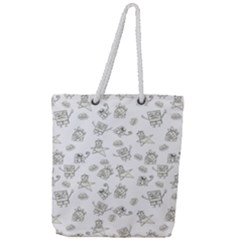 Doodle Bob Pattern Full Print Rope Handle Tote (large)