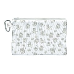 Doodle Bob Pattern Canvas Cosmetic Bag (large)