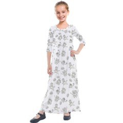 Doodle Bob Pattern Kids  Quarter Sleeve Maxi Dress
