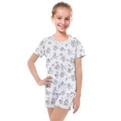Doodle Bob Pattern Kids  Mesh Tee And Shorts Set