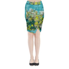 Bloom In Vintage Ornate Style Midi Wrap Pencil Skirt