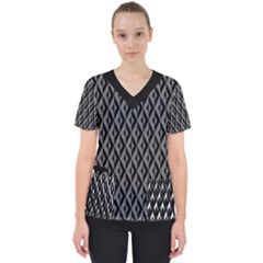 B/w Abstract Pattern 2 Women s V Neck Scrub Top