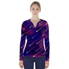 Meteor Shower V Neck Long Sleeve Top