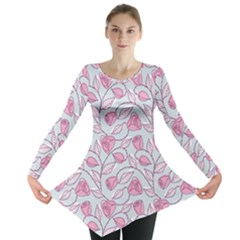 Pink Roses Pattern Long Sleeve Tunic