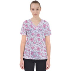 Pink Roses Pattern Women s V Neck Scrub Top
