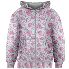 Pink Roses Pattern Kids Zipper Hoodie Without Drawstring