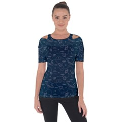 Retro Space Pattern Shoulder Cut Out Short Sleeve Top