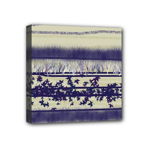 Abstract Beige Blue Lines Mini Canvas 4  X 4  (stretched)