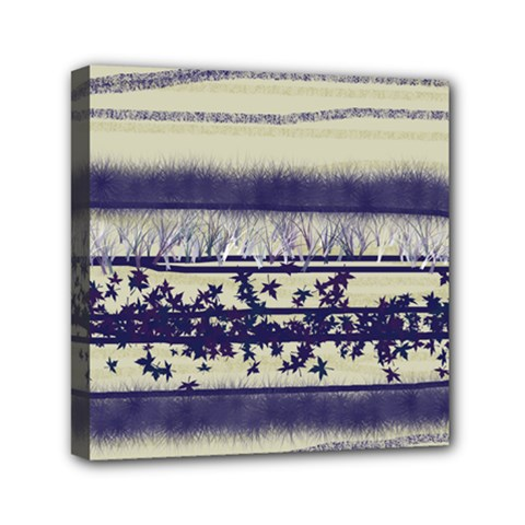 Abstract Beige Blue Lines Mini Canvas 6  X 6  (stretched)