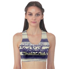 Abstract Beige Blue Lines Sports Bra