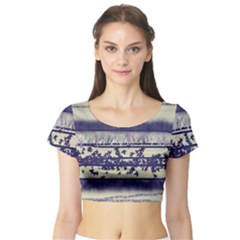 Abstract Beige Blue Lines Short Sleeve Crop Top