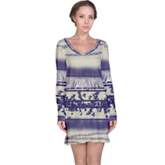 Abstract Beige Blue Lines Long Sleeve Nightdress