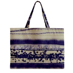 Abstract Beige Blue Lines Zipper Mini Tote Bag