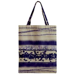 Abstract Beige Blue Lines Zipper Classic Tote Bag