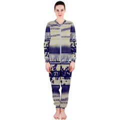 Abstract Beige Blue Lines Onepiece Jumpsuit (ladies)