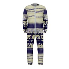 Abstract Beige Blue Lines Onepiece Jumpsuit (kids)