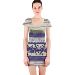 Abstract Beige Blue Lines Short Sleeve Bodycon Dress